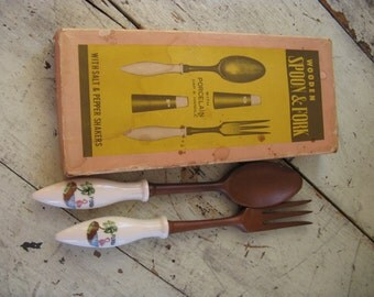 wooden fork wooden spoon florida souvenir original box mid century kitsch porcelain handles