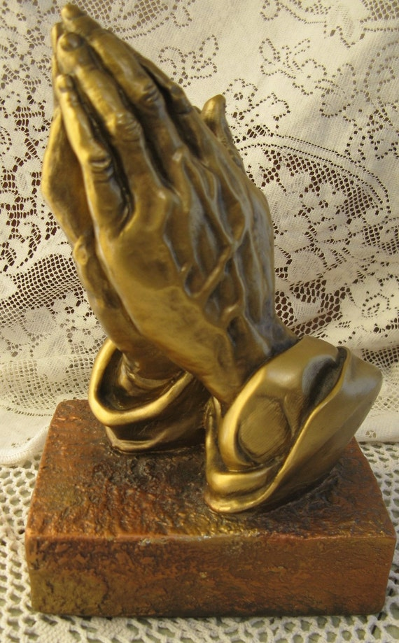 Praying Hands Statue Plaster Gold Copper Great Detailing 10