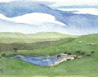 watercolor landscape- Flint Hills Pasture- art print