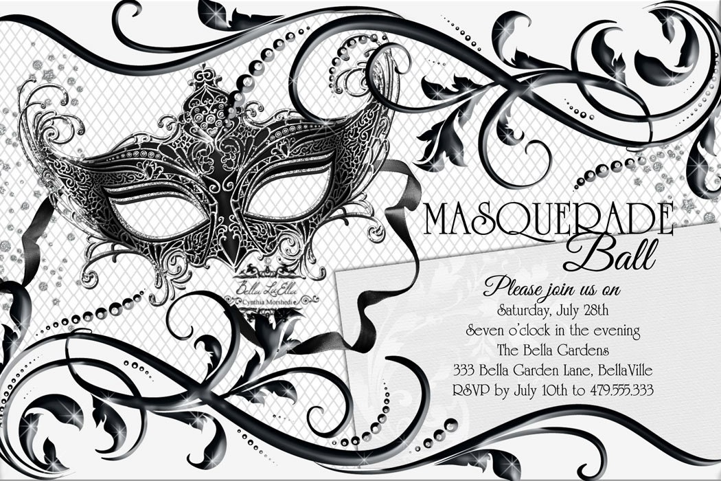 Black white masquerade party quinceanera masquerade for Masquerade invitations template free