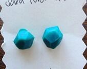 teal geo earrings. polymer clay.