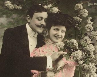 Risqué Antique French Postcard - Romantic Couple and 'Les Boules de Neige...'