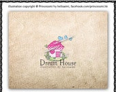 Custom Premade Logo Design - Lovely little house illustration photography business boutique etsy shop logo by princess mi logo1150-9