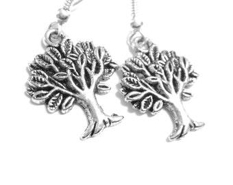 Silver Tree Jewelry - Tree of Life Jewelry Nature Earrings Metal Dangle Earrings 209