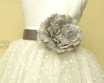 Peony FLOWER sash flower girl dress for weddings sizes 1-8.
