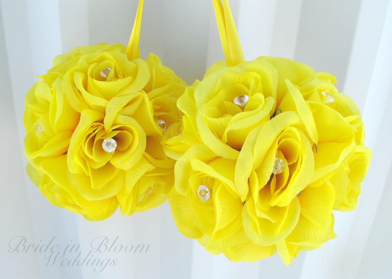 Wedding flower ball Yellow pomander Flower by BrideinBloomWeddings