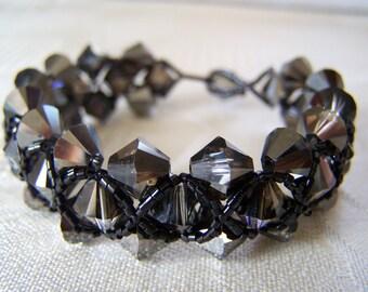 Bracelet Swarovski Silver Crystal Night Right Angle Weave
