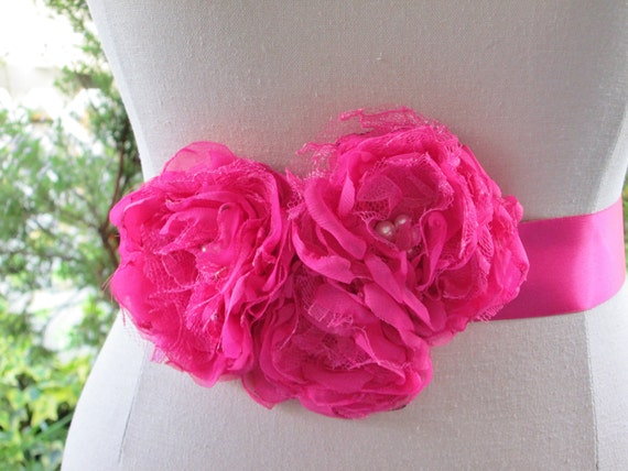 Wedding dress sash, ribbon bridal belt, hot pink fushia ribbon sash. Bridesmaid flower girl belt