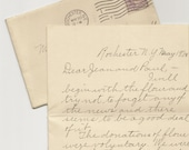 One Antique Letter from 1940 with Purple postage stamp of Thomas Jefferson - picked at random - fun surprise - EphemeraPost