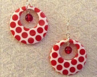 Red and White Go Go Earrings
