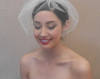 Bridal tulle birdcage veil in ivory, white, blush, or champagne - Ready to ship in 3-5 days