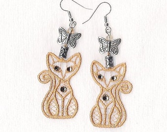 Orange Lace Cat and Butterfly Earrings