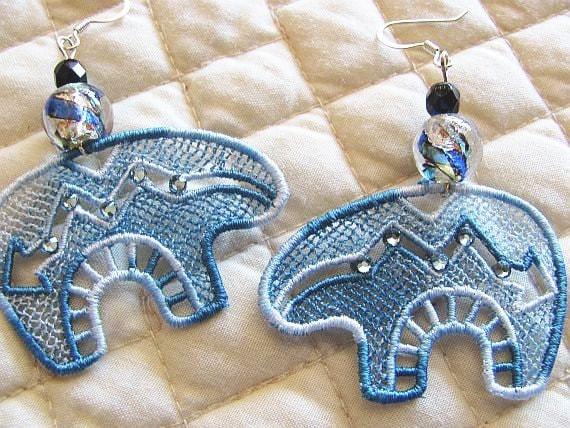 Denim Lace Bear Earrings - Animal Earrings - Lace Earrings