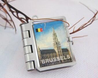 Vintage Brussels Belgium Souvenir Photo Locket Pendant