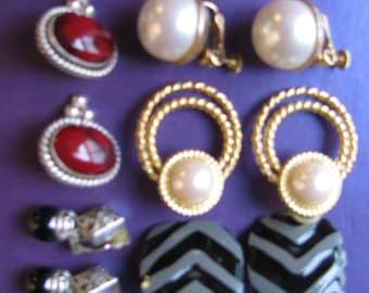 Lot of Five Pairs of Vintage Earrings