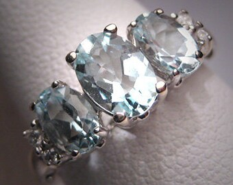 ON SALE! Vintage Aquamarine Diamond Wedding Ring Art Deco W.G.