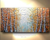 ORIGINAL Painting 24x48 Large Gold Leaf Birch Tree Abstract Texture wall decor Artwork Fine art canvas by OTO