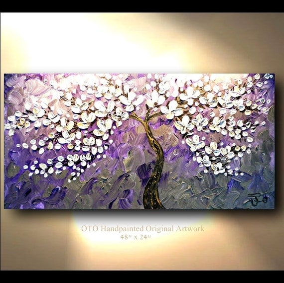 Items Similar To Teal Purple Abstract Flowers Wall Decor: ORIGINAL Oil Painting Abstract Flower Tree Purple Metallic