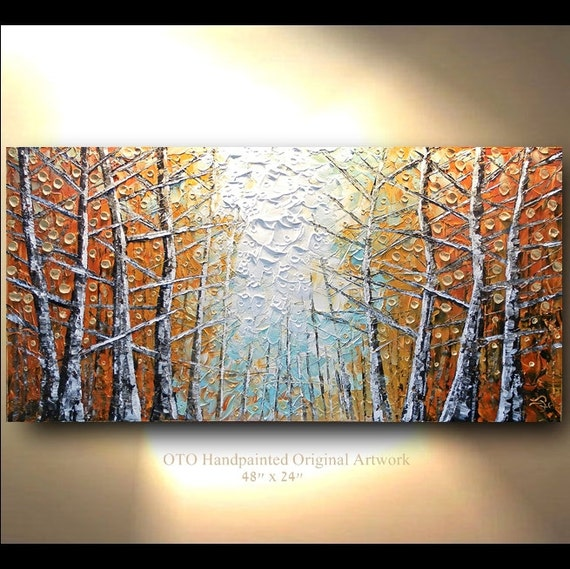 Original painting 24x48 large gold leaf birch tree abstract for Texture painting ideas canvas