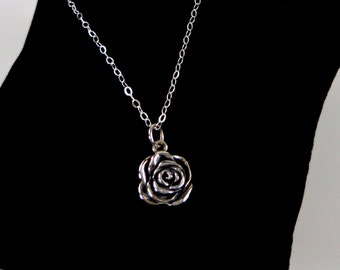 Sterling Silver Rose Necklace - Flower, Love, Faith Necklace, Mom, Daughter, BFF Gift, Bridal Party Gifts