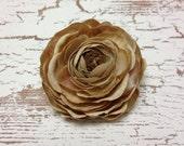 One Camel Beige Artificial Ranunculus - Artificial Flower, Silk Flower, Hair Accessories, Wedding Flowers, Flower Crown, Millinery, Halo