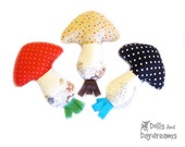 Mushroom Baby Rattle PDF Sewing Pattern Ribbon Tag Toy SALE usually 6-99