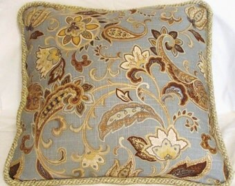French Country Floral Paisley Pillow Cottage Blue Beige Brown Provence Provencal