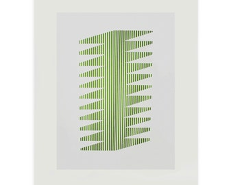 large screenprint, original handmade 'green striped form' minimal, abstract, simple, modern