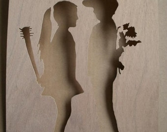 Banksy Boy Meets Girl Wooden Stencil