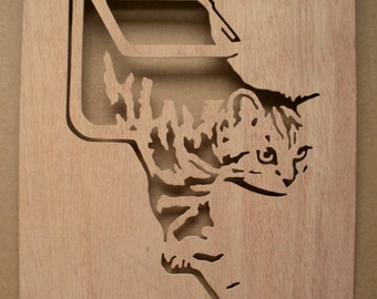 Cat Flap Wooden Stencil
