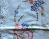 Vintage Pair of White Pillowcases with Embroidered Poppy Flowers and Lace Edge