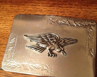 Vintage Silver Belt Buckle with American Eagle Design