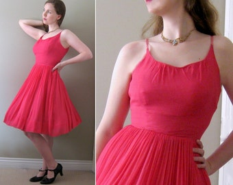 Vintage Valentine Vixen - Hot Pink 1950s Chiffon Cocktail Party Dress - Miss Deb Full Circle Skirt Girly Cupcake Prom Formal New Look XS S