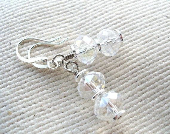 Silver and Clear Crystal Beaded Earrings, Glass Earrings, Silver Jewelry