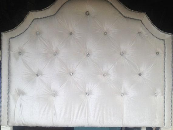 Custom Upholstered Headboard Queen Velvet Rhinestone Nailheads MADE TO ORDER - Custom Upholstered Headboard Queen Velvet Rhinestone Nailheads