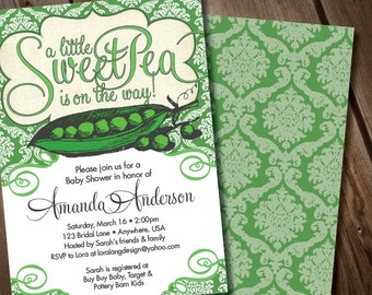 DIY Digital Sweet Pea Baby Shower Invitation