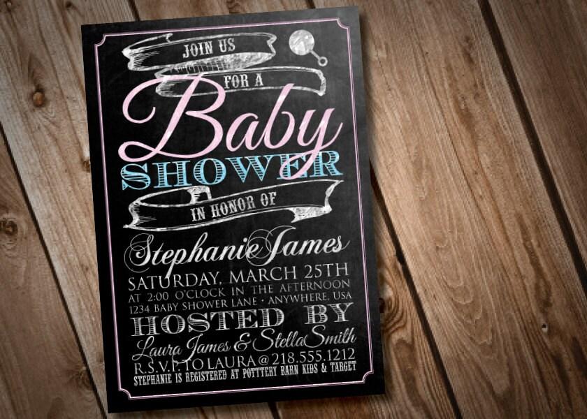 diy printable chalkboard baby shower invitation, Baby shower invitations