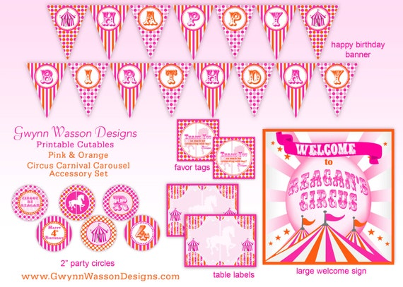 Circus Party Carnival Party Carousel Party Decorations Orange and Pink HUGE PARTY SET  - Gwynn Wasson Designs Printables
