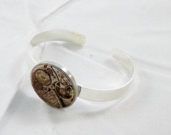 Rustic Steampunk Bracelet Watch Movement Adjustable boho Seventeen jewel Women Men Vintage cogs gears  Women Recycled Jewelry