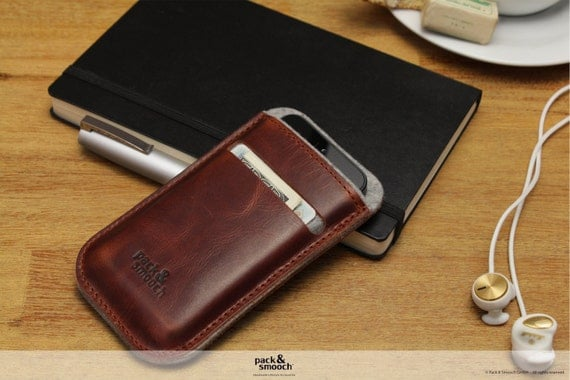 iPhone 4S, 4 wallet case, cover, sleeve, vegetabel tanned leather, 100% wool felt -LEICESTER- LE-4-GLB