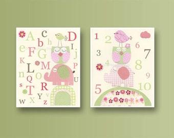 Kids Wall Art, Nursery Art Print, Baby Girl Nursery Art // Hayley bedding set, kids art  // Colors Pink green // Set of 2 8x10 // abc // 123