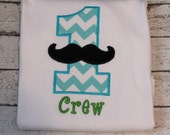 Boy's Mustache Birthday Shirt, Perfect for a Little Man Party, Ages 1-9 available, Choose Tee or Bodysuit