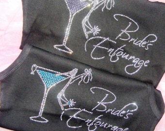 2/24/13 Bride's Entourage Bachelorette Party Tank Top Tee Shirt. Aqua blue, black, rhinestones. The Bride Martini Glass. RESERVED PERCLE