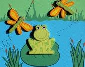 "Cute 3D Frog Dragonfly Pond Baby Nursery Art Kids Decor 12x12"" Canvas"