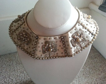 SALE Vintage Hand Embroidered Pearl Bead Collar 1950s Mad Men Accessory Retro Made in India for Baar and Beards Inc NY
