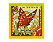 Small Blank Journal - Butterfly Golden Pumpkin - Fruit Crate Art Print Cover