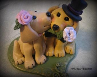 Wedding Cake Topper, Custom Cake Topper, Yellow Lab, Puppy Cake Topper, Dog, Polymer Clay, Keepsake