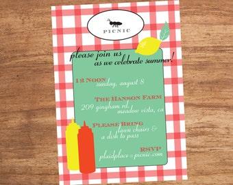 Picnic Birthday Party Custom Printable Invitation