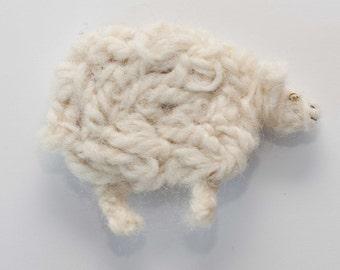 cheviot sheep brooch pin felted crochet