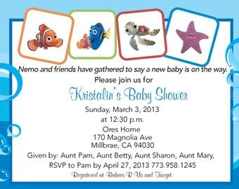Finding Nemo baby shower invitation Finding dory boy or girl